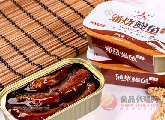三渔圣冈蒲烧鳗鱼罐头价格,鱼肉鲜嫩,肉质厚实