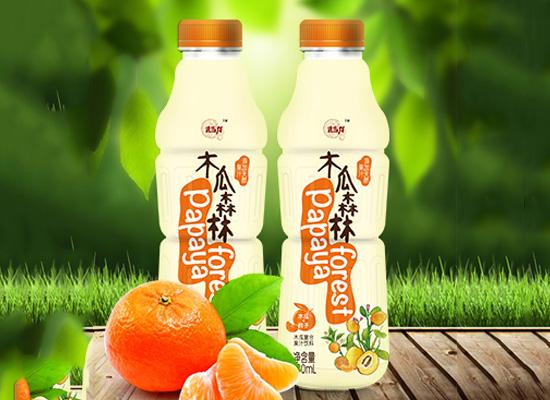 木瓜森林联合各类水果打造全新果汁饮料,新鲜感十足