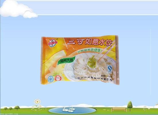 三可如意速冻水饺采用传统猪肉大葱馅,美味且方便!