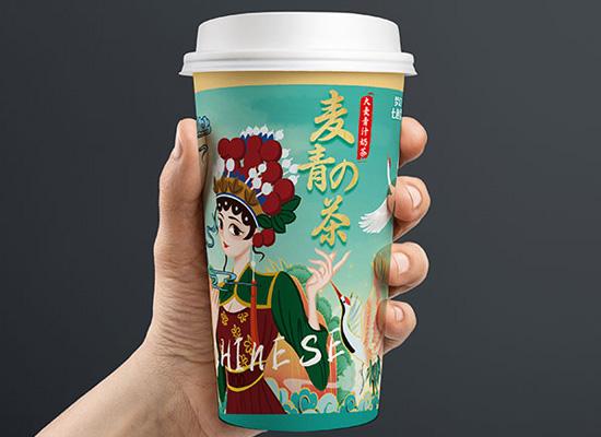 梦幻七色雪大麦青汁奶茶,包装设计十分吸睛,深受消费者喜爱
