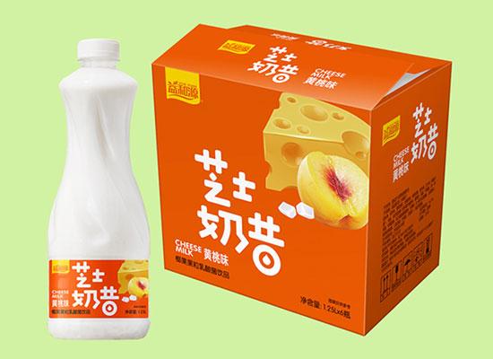 益和源黄桃味芝士奶昔,有满满椰果果粒的乳酸菌饮品